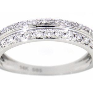 Solid Diamond Unique Fancy Wedding Band White Gold